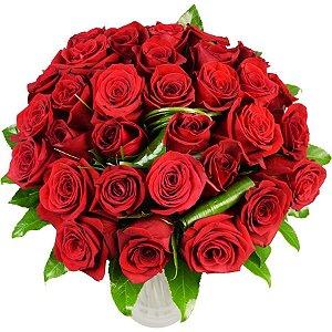 Buquê de 50 Rosas Vermelhas Louco de Paixão