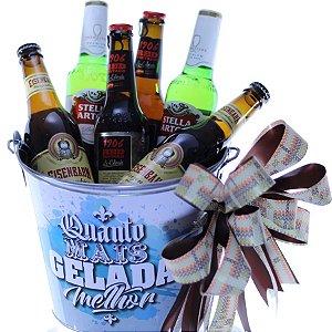 Balde Decorado com 06 Cervejas
