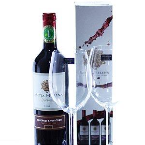 Vinho Chileno com 02 Taças de Cristal Santa Helena