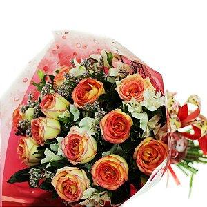Buquê 12 Rosas Ambiance Bicolor Lindo