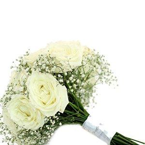 Buquê Noiva Rosas Brancas Para Sempre Feliz