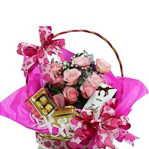Cesta de Chocolates e Rosas Sweet Love