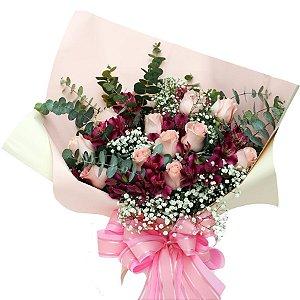 Buquê 12 Rosas e Astromélia Louco Amor