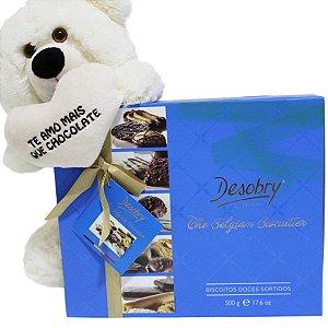 Ursinho Fofo com Caixa de Biscoitos Sortidos Importados