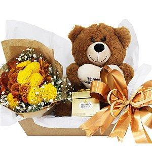 Caixa de Flores Naturais Te Adoro