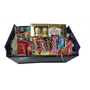 Cesta Para Presente Chocolates Nestlé e Ferrero Rocher