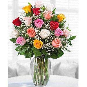 Arranjo Rosas Coloridas Vaso