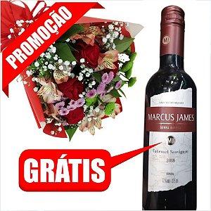 PROMOÇÃO: Compre Buque de Rosas Vermelhas e Flores Campestres e Ganhe Garrafa de Vinho Marcus James 375mL