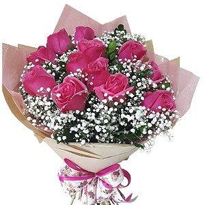 Buquê de 12 Rosas Pink Magnífico