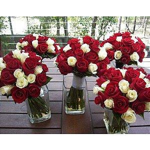 Rosas Vermelhas e Brancas para Arranjo em Vaso