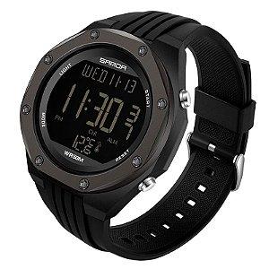 Relógio Militar Resistente Sanda Rosh 6028 + Medidor de Temperatura Original A Prova D'água