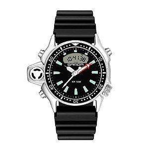 Relógio Esportivo de Luxo Sanda Dive 3008 Original A Prova D'água