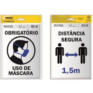 PLACA SINALIZAÇÃO PIMACO ADESIVA C/2 PLACAS MÁSCARA/DISTÂNCIA