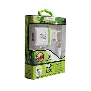CARREGADOR PARA CELULAR TURBO 1 USB COM PINO ADAPTADOR COM CABO V8 XC-V8/GLX FLEX GOLD