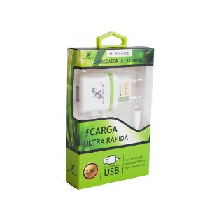 CARREGADOR TURBO 1 USB COM PINO ADAPTADOR IPHONE COM CABO BIVOLT XC-IPH6-USB FLEX GOLD