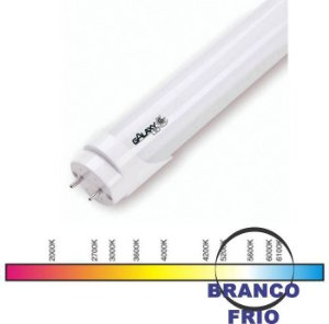 LAMPADA TUBO LED T8 10W. 600MM 6000K LEITOSA VIDRO GALAXY
