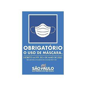 """PLACA SINALIZAÇÃO POLIESTIRENO 20X30 """"USO OBRIG.DE MASCARA"""""""