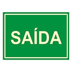 """PLACA SINALIZAÇÃO PVC FLUORESCENTE 20X30 """"SAIDA"""" SINALIZE"""