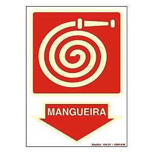 """PLACA SINALIZAÇÃO PVC FLUORESCENTE 20X30 """"HIDRANTE MANGUEIRA"""" SINALIZE"""