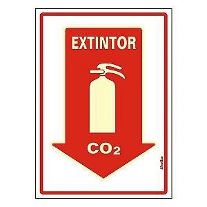 """PLACA SINALIZAÇÃO PVC FLUORESCENTE 20X30 """"EXTINTOR CO2"""" SINALIZE"""
