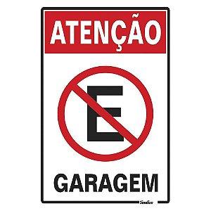 """PLACA SINALIZAÇÃO POLIESTIRENO 20X30 """"ATENCAO GARAGEM"""" SINALIZE"""