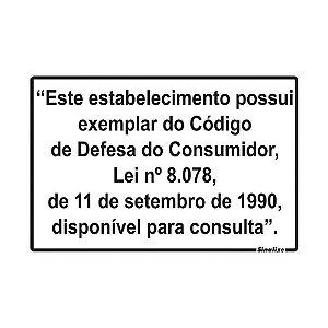"""PLACA SINALIZAÇÃO POLIESTIRENO 20X30 """"LEI DO CONSUMIDOR"""" SINALIZE"""