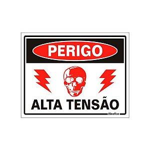 """PLACA SINALIZAÇÃO POLIESTIRENO 15X20 """"PERIGO ALTA TENSAO"""" SINALIZE"""