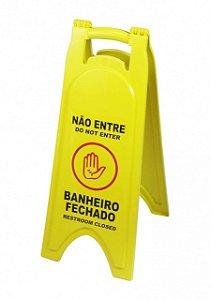 """PLACA DE SINALIZAÇÃO """"BANHEIRO FECHADO"""" PORTUGUÊS/INGLÊS JSN(P4/6)"""