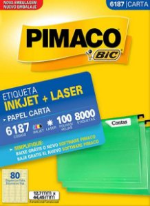 ETIQUETA PIMACO 6187 - ETIQUETAS 12,7 X 44,45 (100 FLS X 80 UNID.)