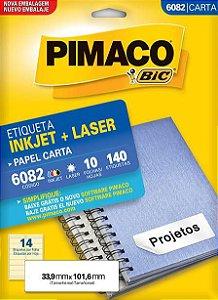 ETIQUETA PIMACO 6082 - ETIQUETAS 33,9 X 101,6 (14 FLS X 14 UNID.)(7665)