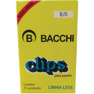 CLIPS GALVANIZADOS N.8/0 25 UNID. LINHA LEVE BACCHI