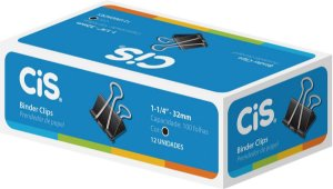 PRENDEDOR PAPEL 32MM PRETO CX. 12UNID. CIS(83240)