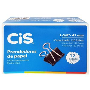 PRENDEDOR PAPEL 41MM PRETO CX. 12UNID. CIS(83232)
