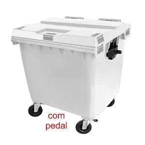 LIXEIRA CONTÊINER PLÁSTICO 1000L. C/PEDAL C/RODAS C/TAMPA C1000P JSN