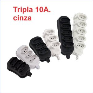 TOMADA EM BARRA TRIPLA CINZA GRANEL 10A. 2P+T
