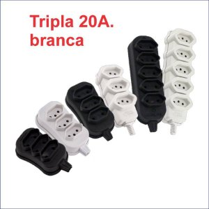 TOMADA EM BARRA TRIPLA BRANCA GRANEL 20A. 2P+T