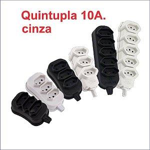 TOMADA EM BARRA QUINTUPLA CINZA 10A. 2P+T