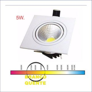 SPOT LED QUADRADO 05W BQ 3000K COB POWER
