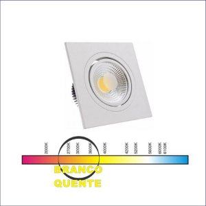 SPOT LED QUADRADO 03W BQ 3000K COB 67MM