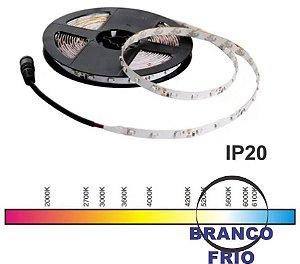 "FITA LED ""IP20"" 2835 BRANCO FRIO(6000K) 5M 12V. 4,8W/M.(24W.) JNG"