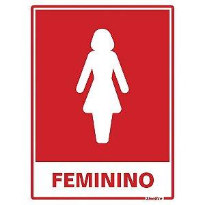"""PLACA SINALIZAÇÃO 15X20 POLIESTILENO """"BANHEIRO FEMININO"""" SINALIZE"""