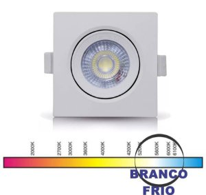 SPOT LED QUADRADO 05W BF 6000K GALAXY