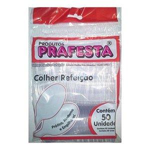 COLHER PLÁSTICA PARA REFEIÇÃO CRISTAL C/50UNID. PRAFESTA