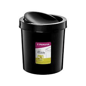 LIXEIRA PLASTICA 4,3L TAMPA BASCULANTE PRETA PRIMAFER