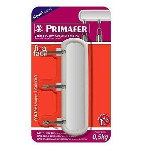 GANCHO ADESIVO BRANCO PLASTICO/METAL 0,3 KG 1 UNID. C/3 GANCHOS PR2563 PRIMAFER
