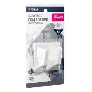 GANCHO ADESIVO BRANCO PLASTICO 1 KG 2 UNID. GRANDE PR2510 PRIMAFER