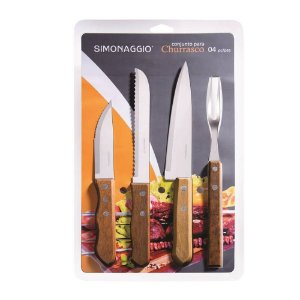 KIT CHURRASCO 4 PECAS BLISTER SIMONAGGIO