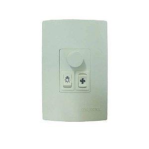 CONTROLE DE VENTILADOR E LAMPADA 4X2 EMBUTIR -  VELOCIDADE/ROTAÇAO + 2 INTERRUPTORES QV371