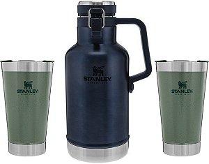 Kit Promocional - 2 Copos Verde Hammertone & 1 Growler Azul - STANLEY