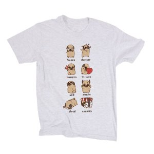 Camiseta Unissex Pug Emotions